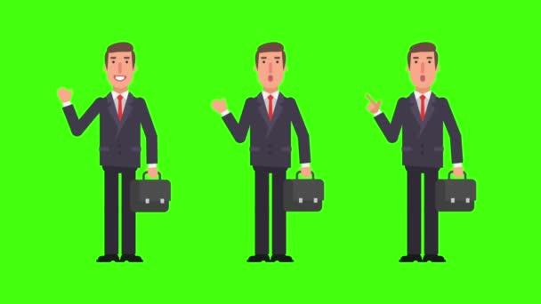 Podnikatel má kufr bodů a zobrazuje mává rukou. Zelené pozadí. Motion grafika. Video animace