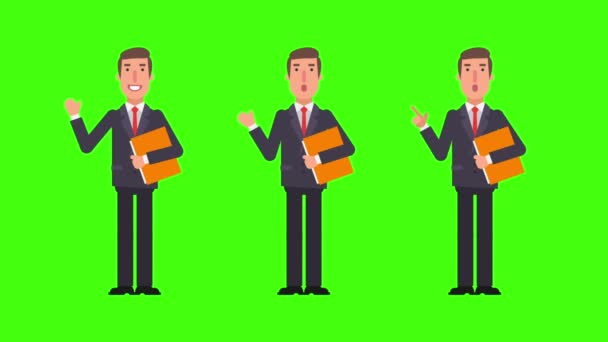 Businessman points and shows waving hand holds folder. Green background. Motion graphics. Animation video.