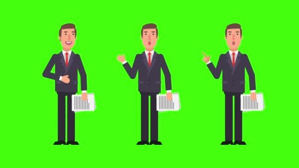 Podnikatel říká a ukazuje drží dokumenty. Zelené pozadí. Motion grafika. Video animace.