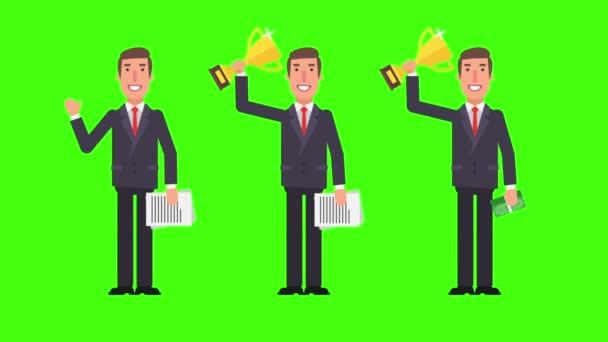 Podnikatel se stojící poblíž flip chart drží ukazatel kufr. Alfa kanál. Motion grafika. Video animace.