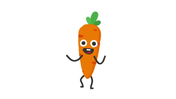Carrot funny character dances and smiles. Loop animation. Alpha channel.