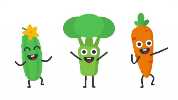 Set Dancing Vegetables Cucumber Broccoli Carrots Loop Animation ...