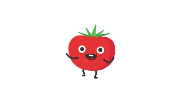 Tomate lustige Charaktertänze und lächelt. Schleifenanimation. Alpha-Kanal.