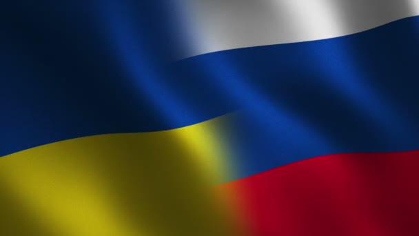 Ukraine Russland Flagge Winken Zusammenfassung Hintergrund Loop