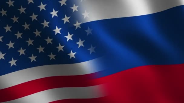 Usa Russland Flagge Winken Zusammenfassung Hintergrund Loop