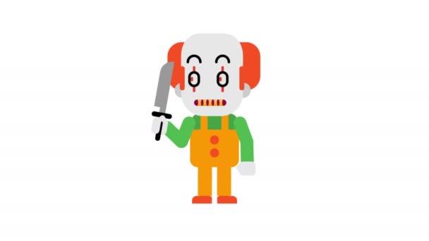 Bohóc dühös stomping és clenching a fogak. Halloween karakter. Alfa-csatornát. Hurok élénkség. Motion grafika.
