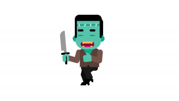 Monster angry stalking his victim. Halloween character. Alpha channel. Loop animation. Motion graphics.