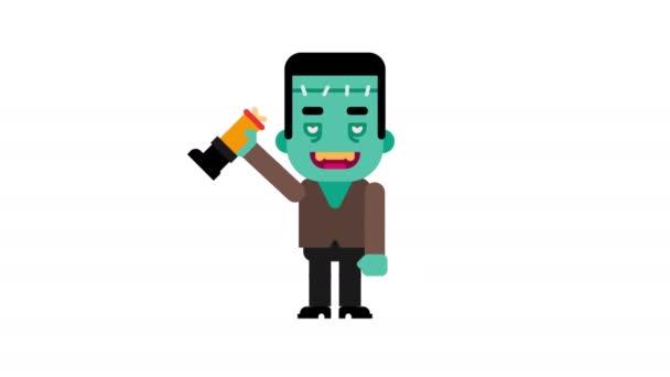 Bewegende Halloween Afbeeldingen.Monster Dansen En Golven Hand Halloween Karakter Alfakanaal Loop De Animatie Bewegende Beelden