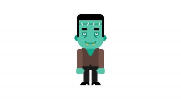 Monster jubelt und zeigt mit dem Finger. Halloween-Charakter. Alpha-Kanal. Schleifenanimation. Bewegungsgrafik.