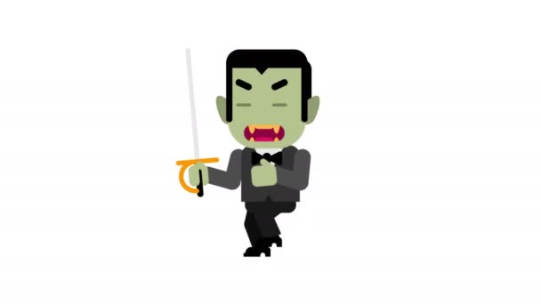 Vampire angry stalking his victim. Halloween character. Alpha channel. Loop animation. Motion graphics.