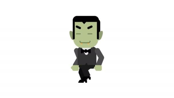 Vampir glücklich zu Fuß und lächelnd. Halloween-Charakter. Alpha-Kanal. Schleifenanimation. Bewegungsgrafik.