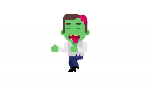 Zombie zlost svou oběť stalkingu. Znak, Halloween. Alfa kanál. Smyčky animace. Motion grafika