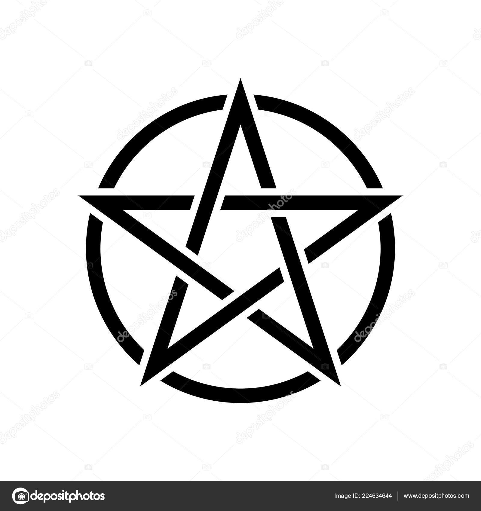Pentagramm Magische Zeichen Weißen Hintergrund Schwarzer Hintergrund