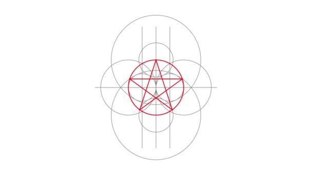 Appearance. Pentacle magic sign red color. Drawn lines. Alpha channel. Motion graphics