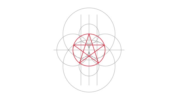 Pentacle magic sign red color. Drawn lines. Alpha channel. Motion graphics