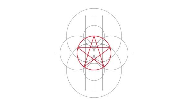 Pentagram magie znamení červené barvy. Nakreslené čáry. Alfa kanál. Motion grafika