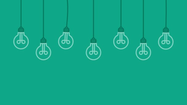 Hanging light bulbs few ideas. Business concept background. Motion graphics
