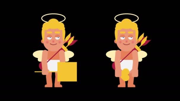 Cupid ukazuje znamení se srdcem a drží valentine. Alfa kanál. Smyčky animace. Motion grafika