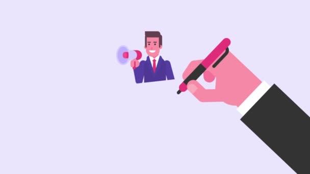 Dibujo A Mano El Empresario Tiene Una Maleta Y Habla En Megásido Concepto De Vídeo Animación De Bucle Los Gráficos Animados
