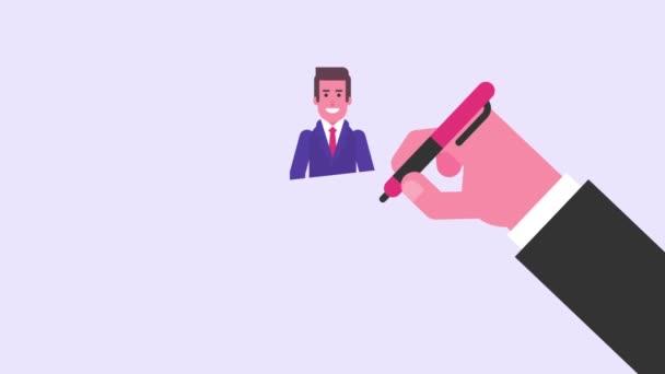 Handzeichnung. Geschäftsmann zeigt mit dem Finger und lächelt. Videokonzept. Schleifenanimation. Bewegungsgrafik