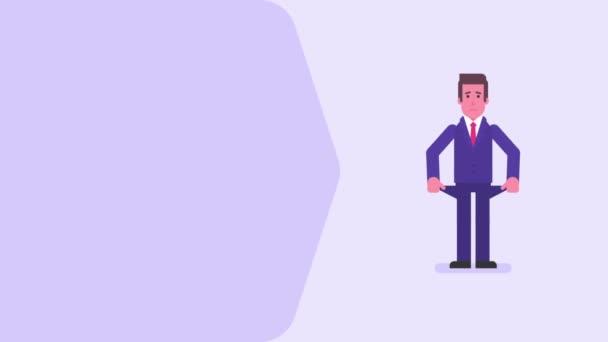Obchodník nespokojený ukazuje prázdné kapsy. Koncept videa. Smyčka animace. Pohybová grafika