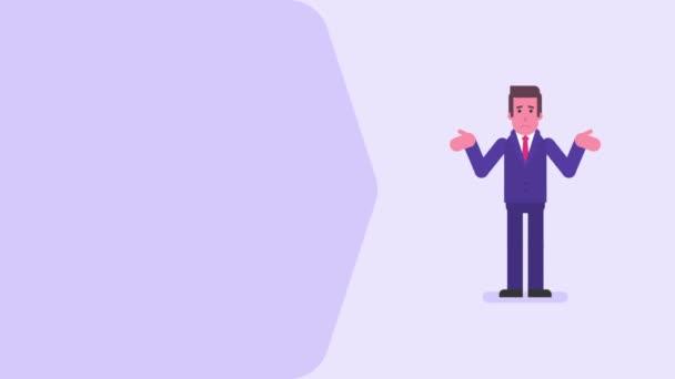Geschäftsmann unzufrieden, dass er nichts hat. Videokonzept. Schleifenanimation. Bewegungsgrafik