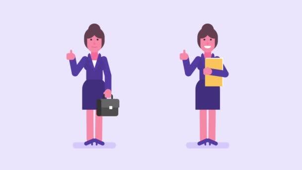 Obchodní žena ukazující palce a usmívá se. Alfa kanál. Smyčka animace. Pohybová grafika