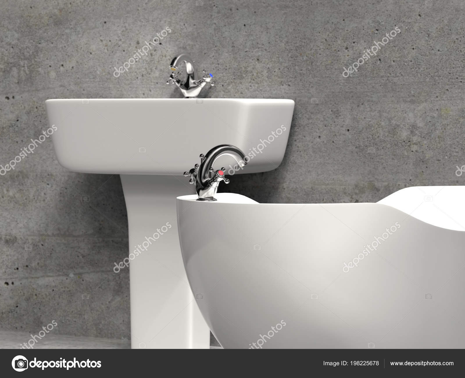 Baignoire Lavabo Baignoire Salle Bains Moderne Blanc Grunge Gris Mur ...