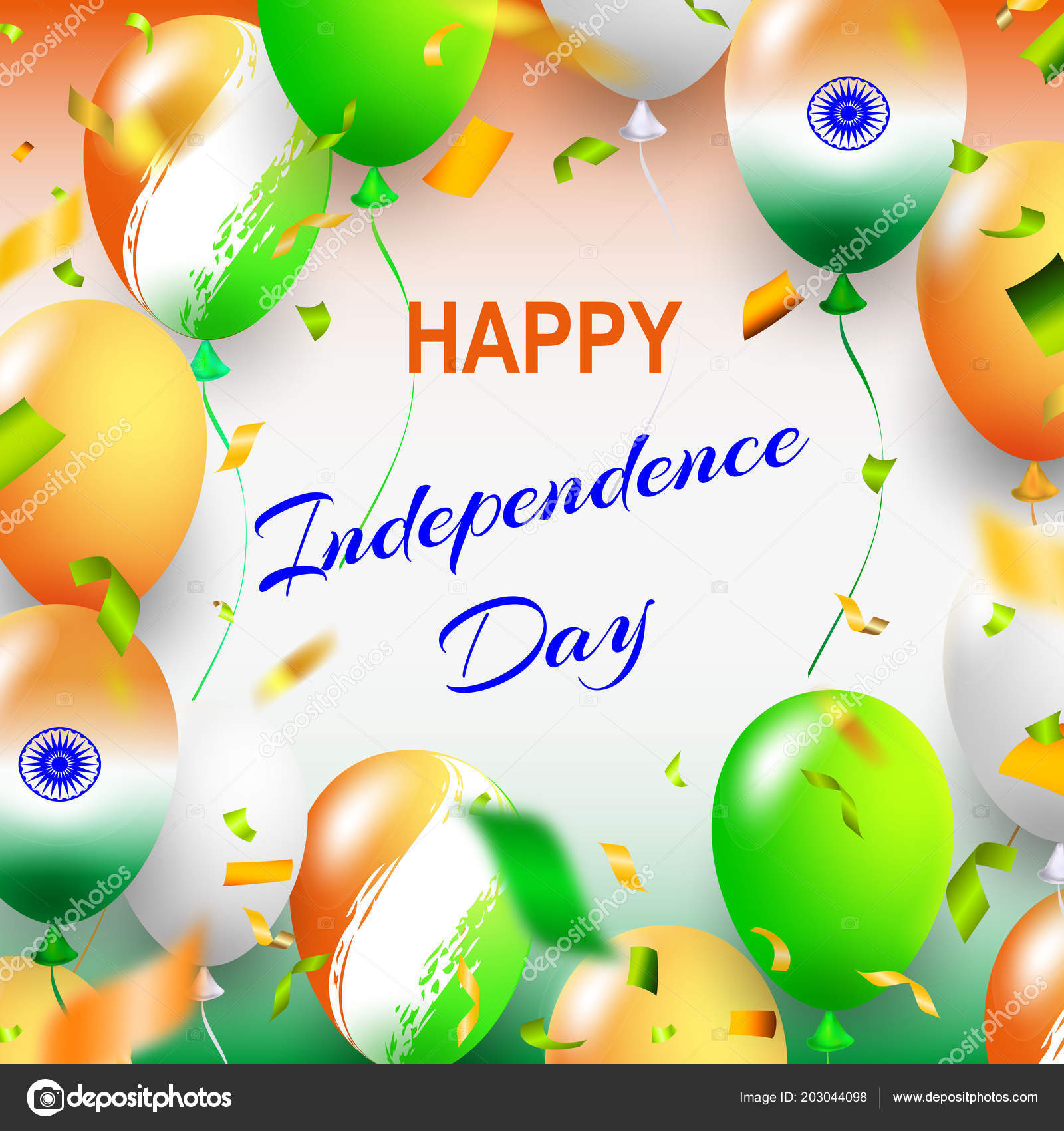 Happy Independence Day India Three Colored Balls White Background