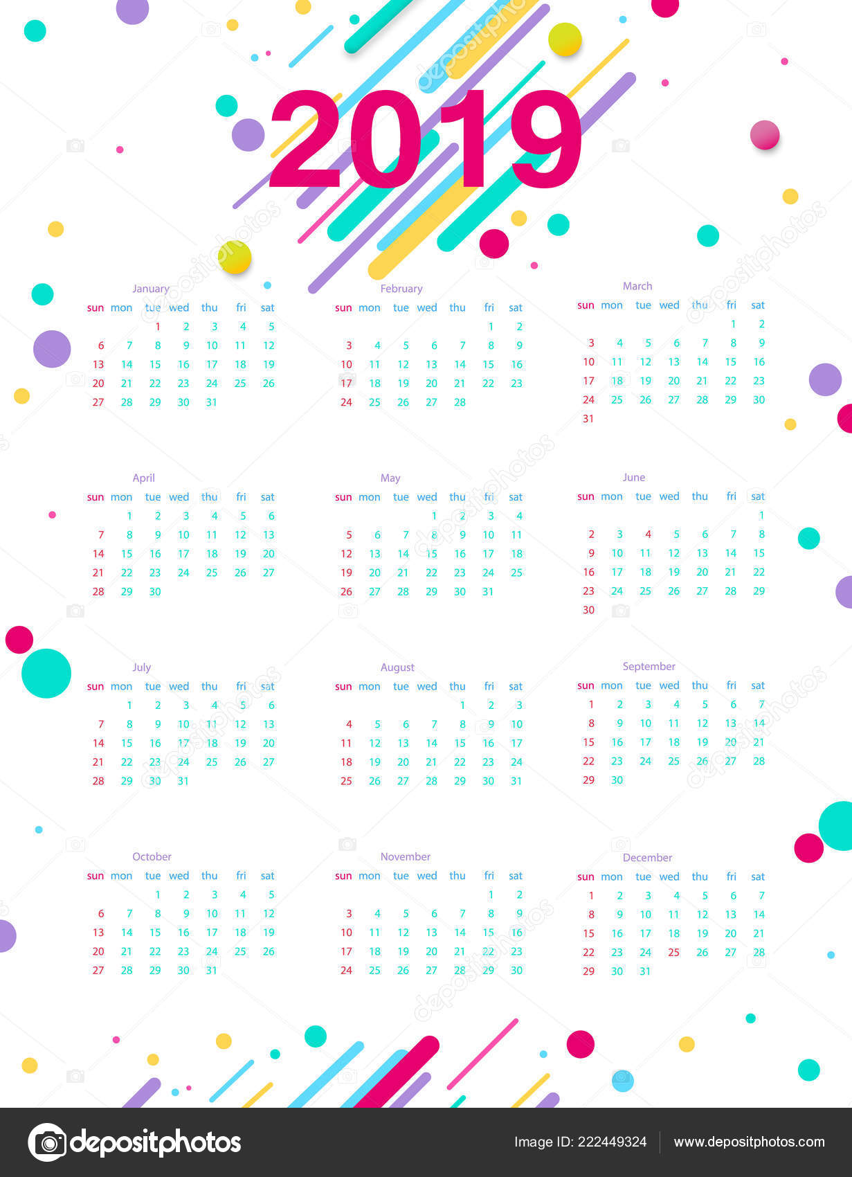Calendario 2019 Moderno.2019 Calendario Poster Calendario Del Modello Progettazione
