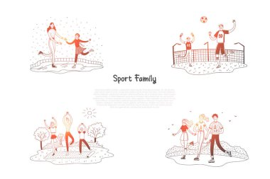 Sport family - family skating, playing football, doing yoga, roller skating together vector concept set