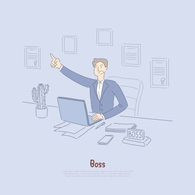 Employer giving out commands, mad office worker in suit, company owner in office, stock broker at computer banner