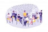Business-Konzept Hackathon, Programmierung, modern, Management. Eine Gruppe von Büroangestellten oder Programmierern erledigt ihre Arbeit. Teamwork Hacker und Manager im Büro.