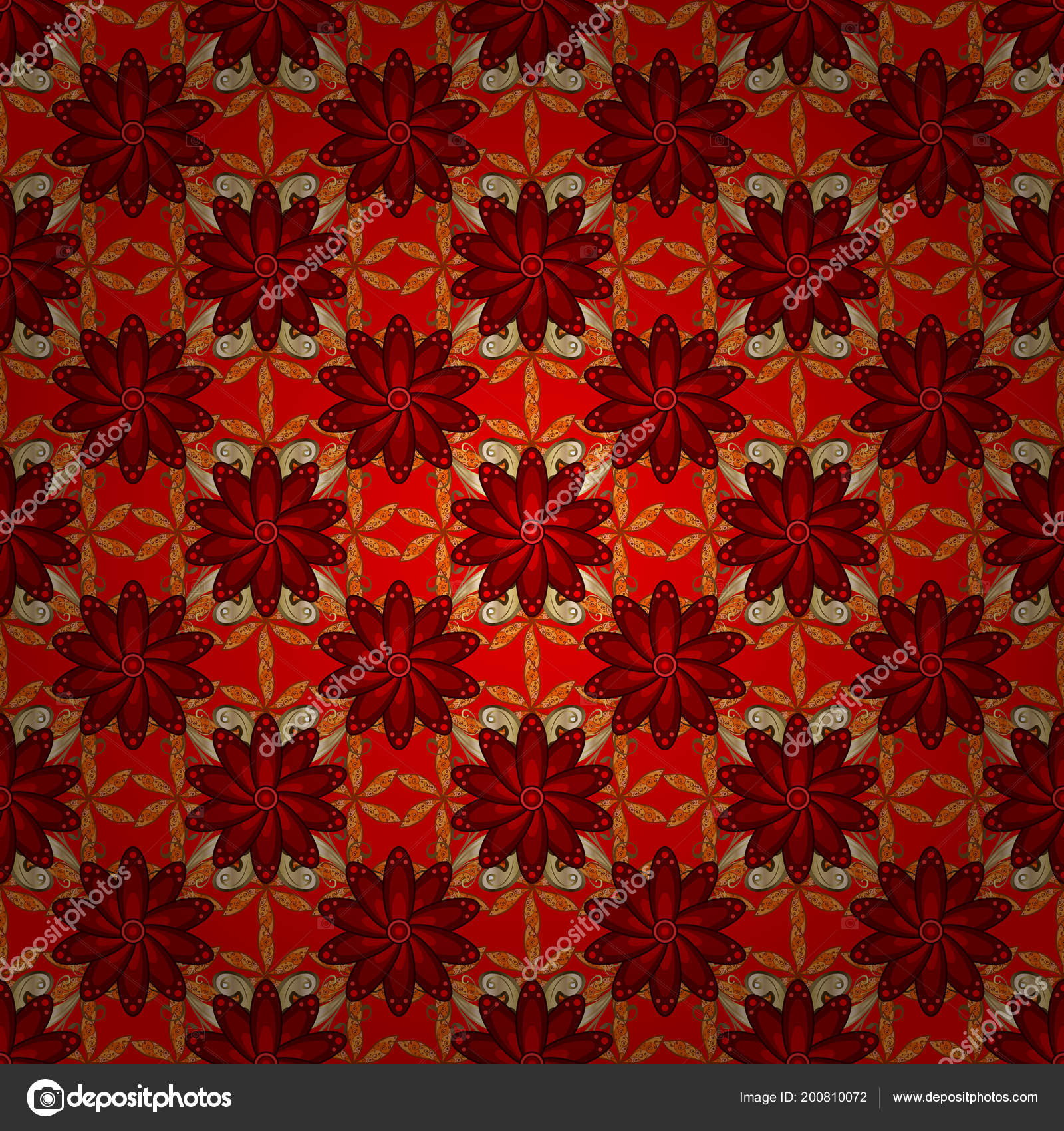 Elegant, Bright And Seamless Red, Brown, Orange, Beige And Yellow