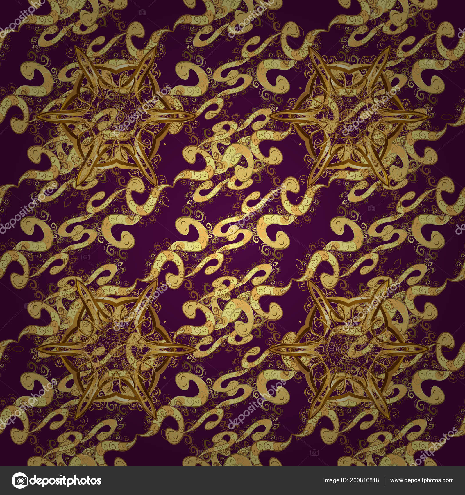 Brilliant Lace, Stylized Flowers, Paisley Seamless Pattern On Purple Colors