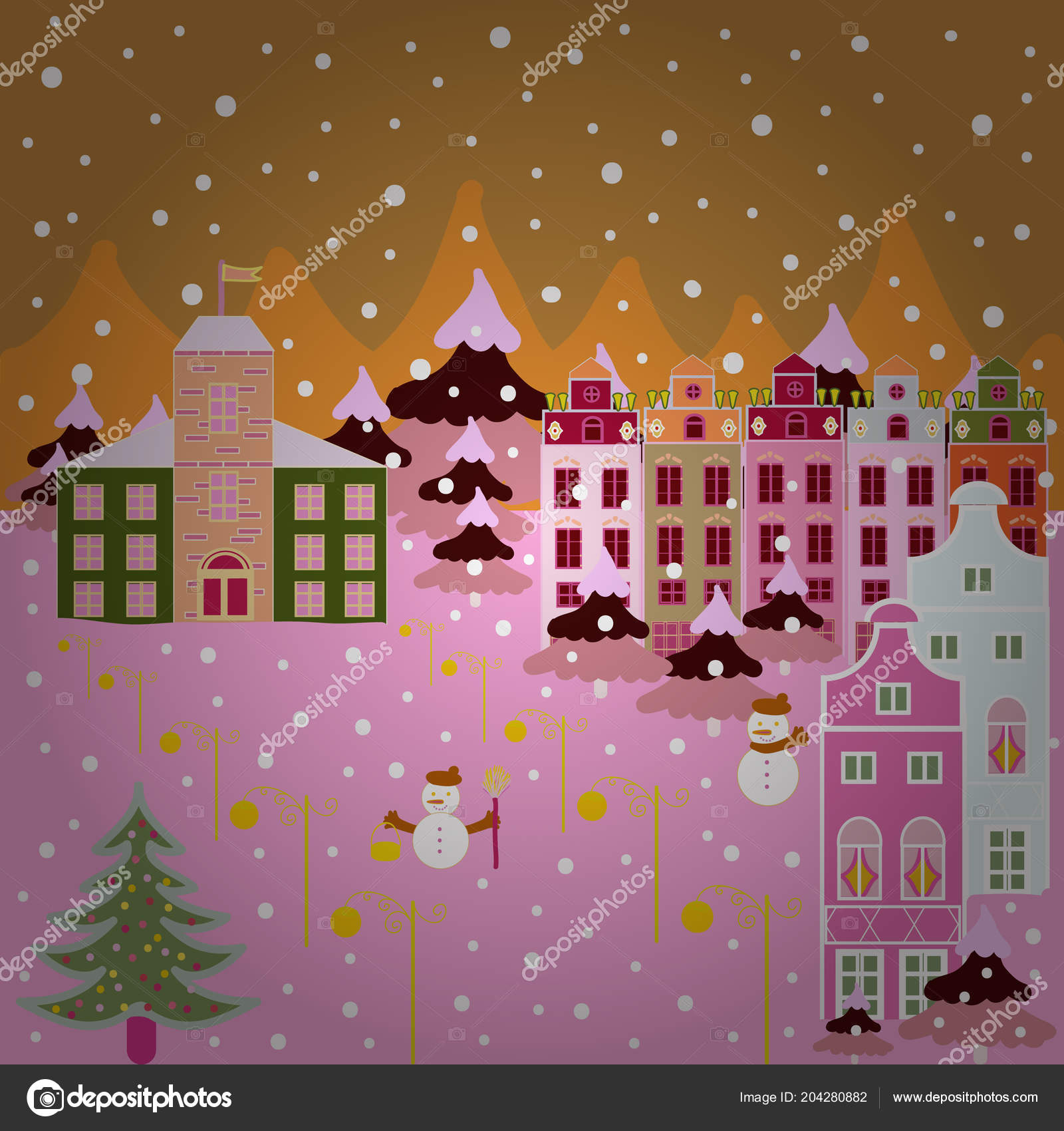 Buildings Pink Beige Neutral Colors Vector Illustration Colorful ...
