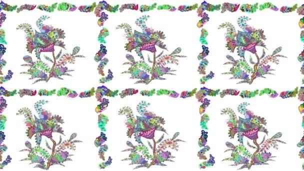 Mozgóképösszetétel virágos firkákkal.