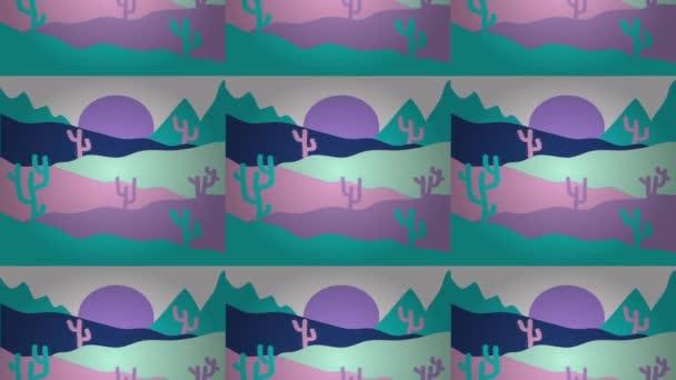 Pouště a duny krajinu za úsvitu. Krajina na modré a růžové barvy