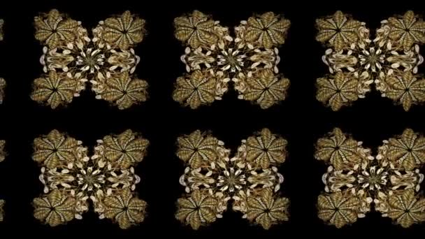 Motion oriental classic golden pattern. Abstract background with golden repeating elements on a black colors.