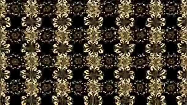 Ornamento orientale. Stampa tessile dorato. Disegno islamico. Mattonelle floreali. Reticolo dorato su colori nero con elementi dorati. Composizione di metraggio di movimento.