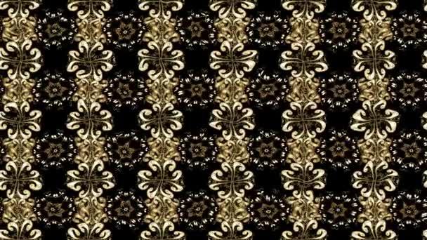 orientalisches Ornament. goldener Textildruck. Islamische Gestaltung. Blumenschmuck. goldenes Muster auf schwarzen Farben mit goldenen Elementen. Filmkomposition.