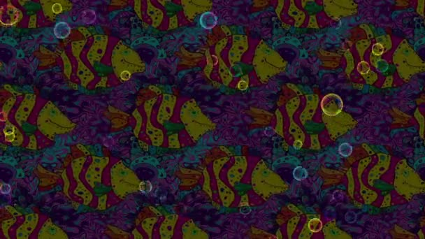 Composizione di metraggio di movimento. Reticolo sveglio dei pesci di nuoto su priorità bassa dentellare e blu doodles. Poster di pesci, modello della bandiera.