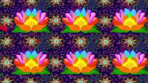 Motion footage composition with flowers. Cute Floral pattern in the rainbow lotus flower.