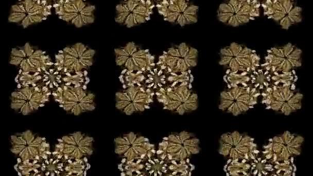 Sfondo astratto con gli elementi ripetuti. Reticolo dorato sui colori di sfondo nero con elementi dorati. Composizione di metraggio di movimento.