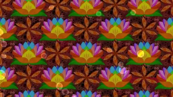Floral pattern with lotus flowers. Motion loop footage composition