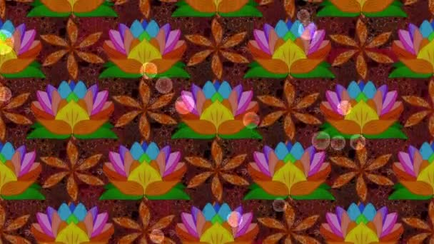 Cute Floral pattern in the lotus flowers and bubbles. Motion footage loop composition.