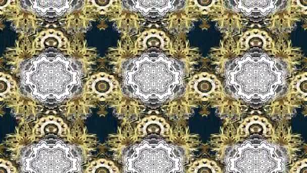 Loop Motion Footage Komposition. Damast klassisches goldenes Muster. Abstrakter Hintergrund mit sich wiederholenden Elementen. Goldenes Muster auf dunklen Farben mit goldenen Elementen.