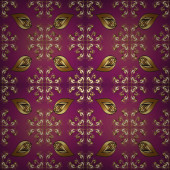 Zökkenőmentes. Szüreti minta arabeszkákkal. Illusztráció. Hagyományos klasszikus dísz. Keleti szép minta arabokkal és virágos elemekkel. Képek lila, piros és barna színben.