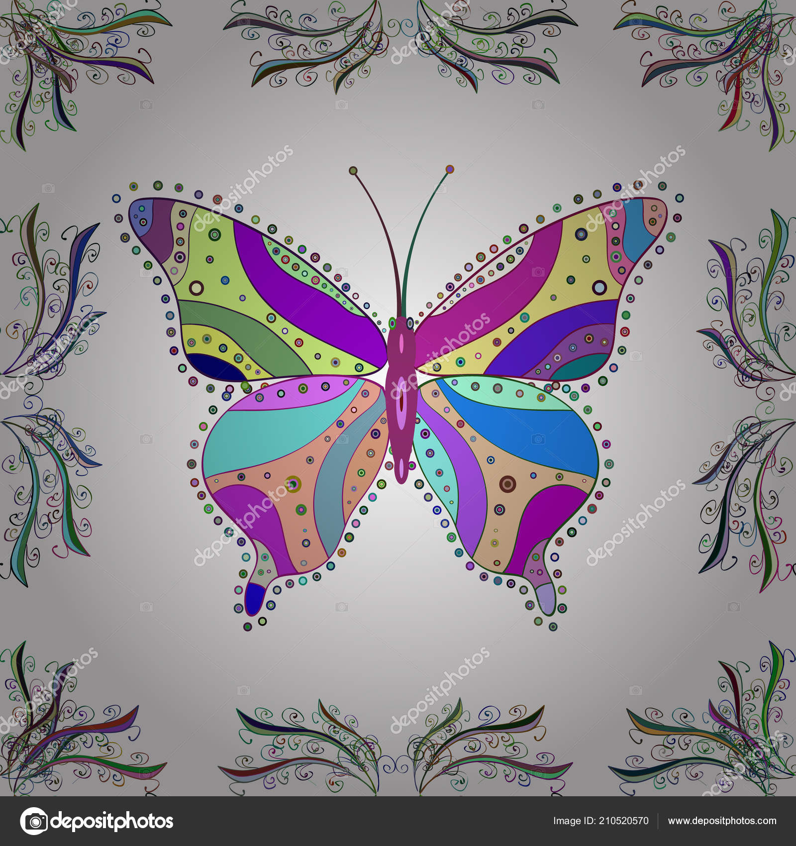 Spring Silhouettes And Shadows >> Illustration Illustration Suitable Fabric Paper Packaging Butterfly