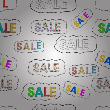 Sale banner. Seamless pattern. Vector lettering. Illustration in white, black and yellow colors.